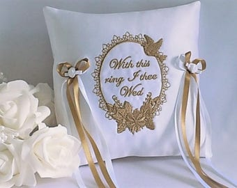 """Wedding Ring Cushion, Wedding Ring Pillow, for ring bearer. White/Ivory Satin. Embroidered """"With this ring""""  15 contrast trims available."""