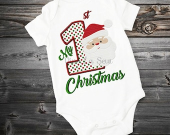 Instant download My First 1st Christmas Santa Holiday, Fill Stitch, Appliqué Embroidery Design
