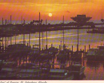 Vintage Sunrise at The Pier in St. Petersburg, Florida. Stamped Postcard. 1976