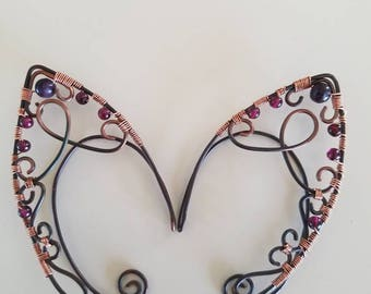 Copper wire wrap Elf Ears with Garnet and Fluorite