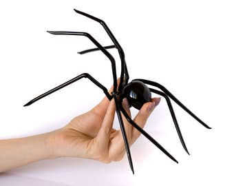 Huge Black Spider Figurine Art Glass Sculpture Insect Statuette Collectible Sculpture Gothic Spider Scary Halloween occultic Figure