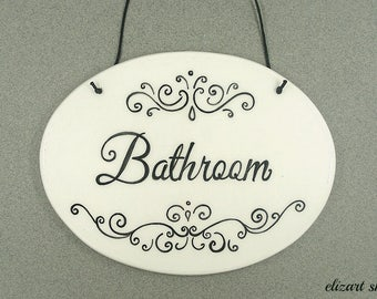 Bathroom sign, toilet sign, bath sign, hanging bath sign, WC sign, restroom sign, powder room sign, sign for toilet, ladies room sign, loo.