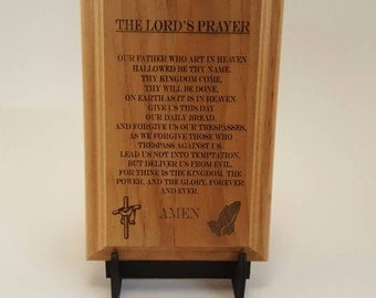 """The Lord's Prayer Engraved Wood Plaque, 4"""" X 6"""""""
