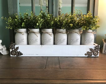 Mason jar centerpiece - Mason Jar table decor - Rustic Mason jar centerpiece - Rustic Home decor - Painted mason jar decor - Mason Jar Decor