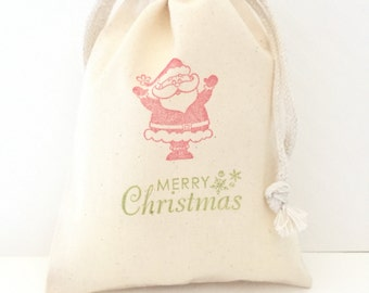 10 Santa Favor Bags - Christmas Favor Bags - Christmas Party Favors - Christmas Gift Bags - Holiday Party Favors, Christmas Santa Favors