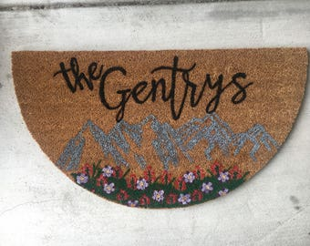 Floral Mountains | Customized Doormat | Hand-Painted Doormat | Personalized