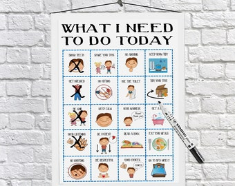 Boys Routine Chart, Download printable, kids daily planner, Toddler daily routine dry wipe, print at home, Autism, SEN, ADHD, dyslexia