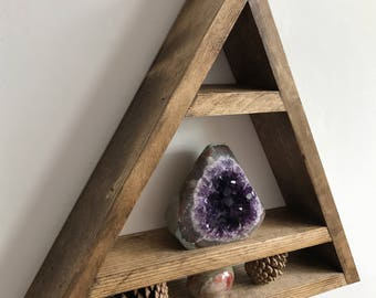 Triangle crystal shelf, crystal shelf, altar shelf, crystals, amethyst, healing crystals, display shelf, wood altar shelf, lovelifewood,