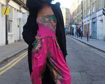African Jumpsuit- Jaineba Jumpsuit - Wax Print Romper - African Clothing - Dashiki Jumpsuit - Ankara Clothing - Festival Clothing