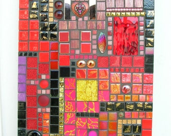 Black Red mosaic table