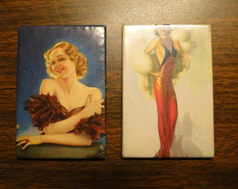 "2 - 1920's Flapper Girl Pocket Mirrors - 2"" x 3"" - Great Find!"