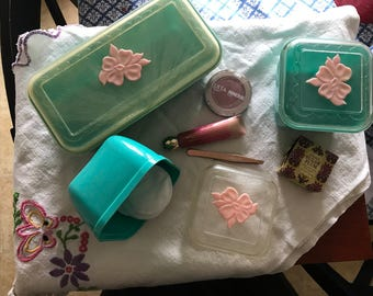 Vintage vanity makeup containers