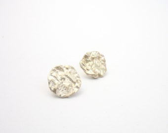 Handmade ear studs round earrings, small sterling silver round Stud Earrings made from silver, small