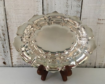 Towle Silverplate Oval Tray Bowl EP 4172 Scalloped Dish Vintage Serving Silver Candy Dish