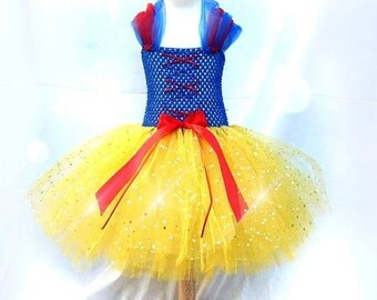 Snow White tutu Dress - Princess Dress - Disney Tutu Outfit - Tutu Dress - Yellow Tutu Dress - Sparkly Tutu - Inspired  Handmade Dress