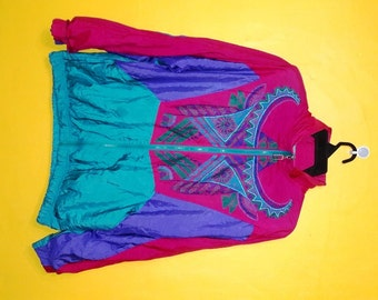 Vintage 90's Great Cavalier by St Paul Windbreaker Embroided colourful design athletic jacket medium size water proof