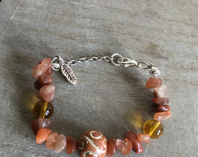 Carnelian bracelet with a leaf charm