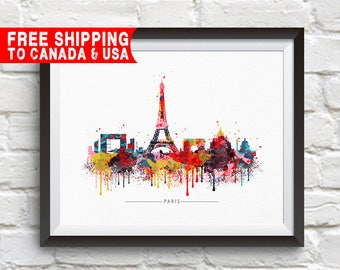 PARIS City Skyline,Paris, Map of Paris, France, Paris Print, Paris Poster, Eiffel Tower, French Art, Home Decor, Gift Idea