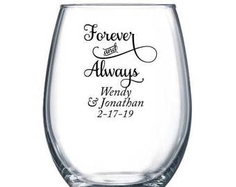 36 pcs - Forever and Always Stemless Wine Glass 9 OZ- Personalized - DGI22-A14