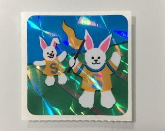 Vintage Mini Prismatic Bunny Rabbits Sticker