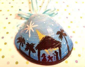 Nativity Scene Hand Painted Shell (#3)