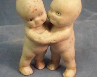 Vintage Kewpie Doll couple figure,Bisque or Bone China? Statue of Kewpie Couple Hugging