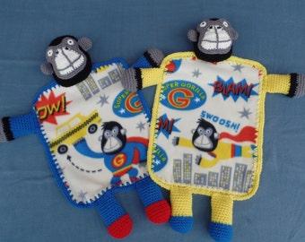 Super Gorilla Fleece and Crochet Lovey Blanket