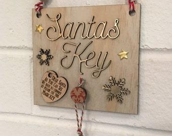 Santas Magic Key Plaque - Handmade Wood with Key