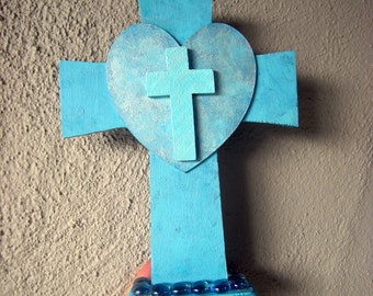 Christian free-standing cross, hand painted and decorated