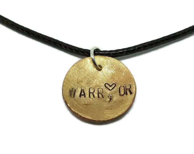 Warrior Hand Stamped Copper Pendant, Warrior Necklace, Suicide Prevention, Mental Illness Awareness, Depression Awareness