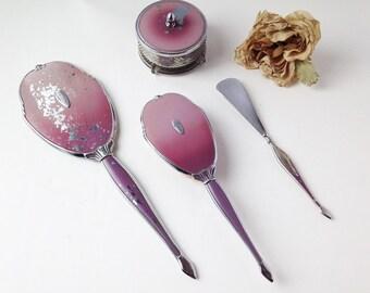 Vintage vanity mirror and brush set / vanity set / vintage vanity / antique mirror / antique vanity set / dresser vanity set