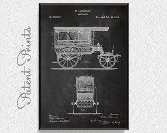 Ambulance 1889 Patent Print, Medical Poster, Medical Decor, Medical Blueprint, Medical Print, Medical Art