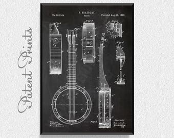 Banjo 1882 Patent Print, Music Poster, Music Art, Music Art Print, Music Wall Art, Music Wall Decor, Music Decorations