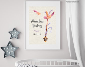 Cute & pretty name A4 poster - new baby - customisable - printable - digital artwork - perfect gift for parents - nursery decoration