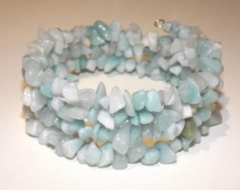 Bracelet of amazonite chips on memory wire, 4 wrap. Color blue/green