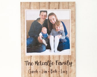 Family Photo Plaque, Personalised Wooden Photo Plaque, Photo on Wood, Family Name Sign, Family Portrait, Wooden Photo Block, Picture on Wood