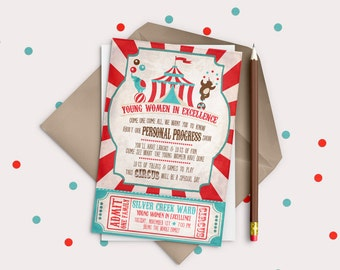 LDS Young Women in Excellence DIGITAL invitation OR New Beginnings invite - Circus or Carnival theme
