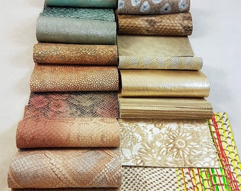 Leather swatches of our fancy stock collections, 12 cm x 15 cm (4,72 x 5,91 inch)