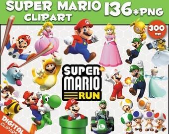 Super Mario Run  Clipart 136 PNG 300dpi Images Digital Clip Art Instant Download Graphics transparent background Scrapbook birthday Nintendo