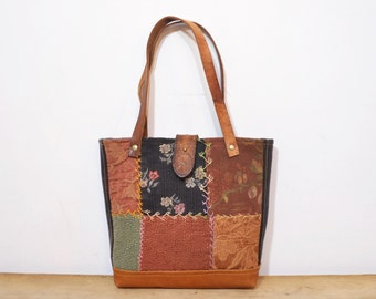 Hand Made Tote bag / Upcycled Purse.  Vintage Crazy Quilt and Leather Shoulder Bag Purse