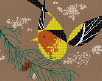 Western Tanager Needlepoint Pattern