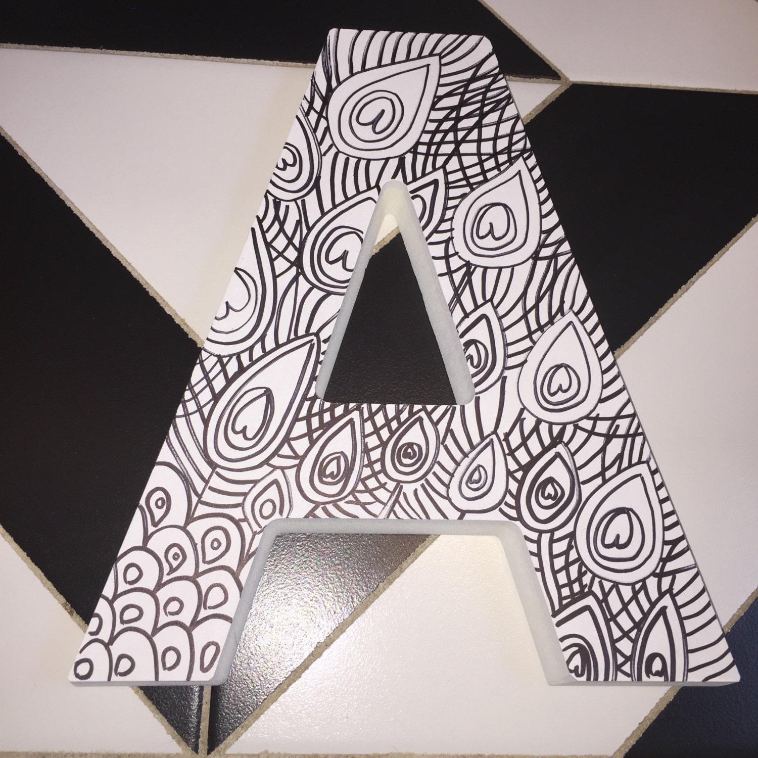 wooden letter a 1 inch thick teen coloring peacock color