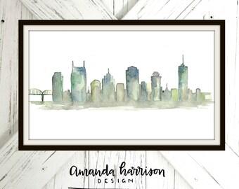 Nashville Watercolor Print | Nashville City Watercolor Art | Watercolor Print