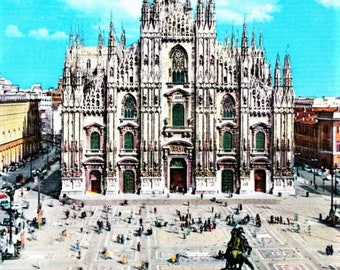 Vintage 60s Italian Travel Color Postcard Piazza del Duomo Church Florence Italy Real Photo Vintage Cars Deckled Edges
