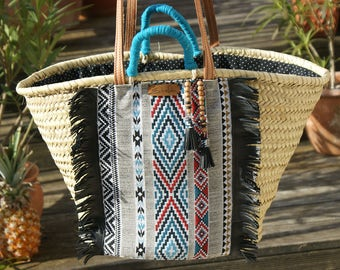 Basket bag Ibiza basket ethno leather fringed hippie