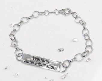 Silver Medical ID bracelet-silver bracelet-ID bracelet-personalised-medical alert bracelet-silver-medical bracelet-medical alert-bracelet-UK