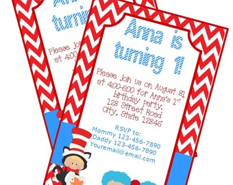 Dr. Seuss Birthday Party Invitation Printable Boy Girl