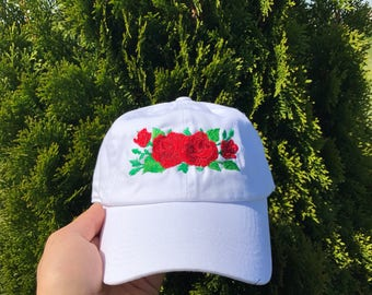 Roses Embroidered Dad Hat Strapback Cap