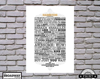 Hamilton - Digital Download Files - Quotes - Lyrics - Typography Print