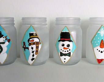 Hand-Painted Snowman themed frosted pint jars, Pick 2, Mix and Match with other listings!